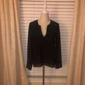 Zara black and white tweed accent sheer blouse